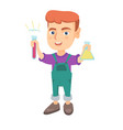 little caucasian boy holding test tube and beaker vector image vector image