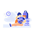 male student sitting and reading books vector image