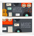 old music studio equipment horizontal banners vector image