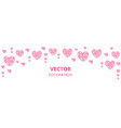 pink hearts frame border glitter isolated vector image vector image