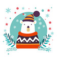 polar bear christmas animal wearing knitted vector image