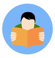 Reading Man Icon FAQ Concept Flat style Isolated vector image