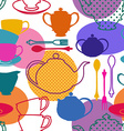 Seamless pattern of tea set dishes vector image vector image