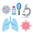 set icons medical vaccine research coronavirus vector image vector image