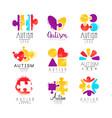Set multi-colored logo for autism