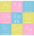 Set of baby born drawings Sketches Hand-drawing vector image vector image