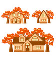 set of houses and autumn trees vector image vector image