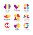 set of multi-colored logo for autism vector image vector image