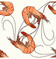 shrimp seamless pattern vector image vector image