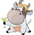 small cow and champagne cartoon vector image vector image