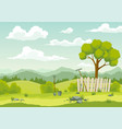 spring landscape with green grass hills blue sky vector image vector image