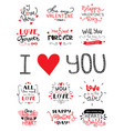 st valentines day hand lettered greeting labels vector image