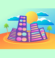 summer city with palm and sun cityscape resort vector image vector image