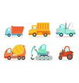 transportation and construction machinery set vector image vector image