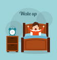 wake up boy in bed arms stretch with clock on vector image