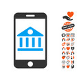 mobile bank icon with valentine bonus vector image