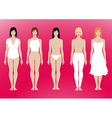 5 females standing template with removable vector image