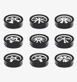 isolated black and white color alloy wheels logo vector image