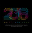 2018 happy new year numbers minimalist style vector image
