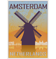 Amsterdam vintage poster vector image