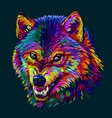 angry wolf abstract colorful neon portrait vector image vector image