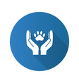 animal welfare flat design long shadow glyph icon vector image