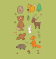 Animals forest set with cute cartoon bears