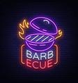 barbecue logo neon sign symbol bright vector image vector image
