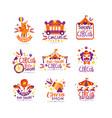 big circus show logo design set carnival festive vector image vector image