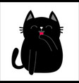 black cat cat licking paw hand face head tongue vector image
