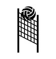 black icon volleyball net and ball cartoon vector image vector image