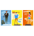 cards for selling clothes different sizes vector image vector image