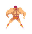 cartoon strong wrestler in powerful pose fighter vector image vector image