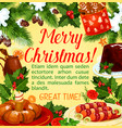 christmas holiday dinner poster with xmas dessert vector image