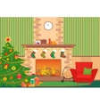 Christmas livingroom flat interior vector image vector image