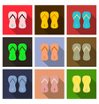 colored flipflops icon slippers icon flip flop vector image