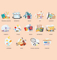 colorful education icons school lesson subjects vector image