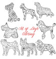 coloring set dogs vector image vector image