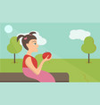 cute little girl with red apple in park vector image