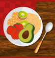 dish with fresh vegetables vector image vector image