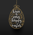 Easter egg with calligraphic type design vector image