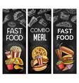 fasst food chalkboard black banners vector image vector image