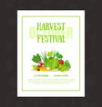 flyer with lettering and a frame vegetables and vector image
