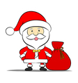 Funny Santa claus with bag of gifts vector image vector image
