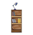 grated education bookcase with books and desk lamp vector image vector image