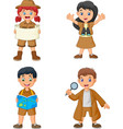 group of cartoon happy kids wearing explorer costu vector image