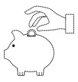 hand human with piggy savings isolated icon vector image
