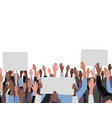 hands up pattern with banners public protest vector image vector image
