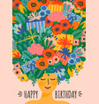 happy birthday cute lady vector image