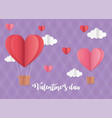 happy valentines day origami air balloons hearts vector image